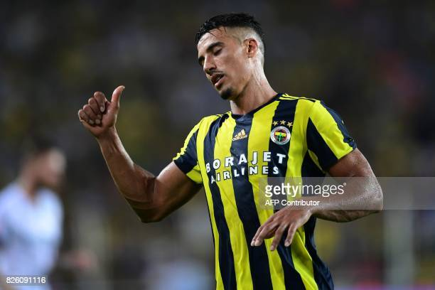 Fenerbahce's Nabil Dirar reacts during the UEFA Europa League third qualifying round second match between Fenerbahce and Sturm Graz at Fenerbahce's...