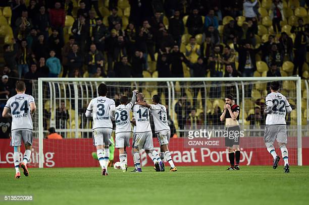 Fenerbahce`s players celebrate after scoring a goal during the Zirrat Turkish Cup football match between Fenerbahce and Amedspor at Fenerbahce Ulker...