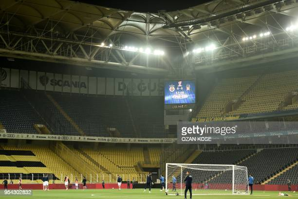 Fenerbahce's players warm up prior to the rescheduled Turkish Cup semi second leg final football match between Fenerbahce and Besiktas on May 3 2018...