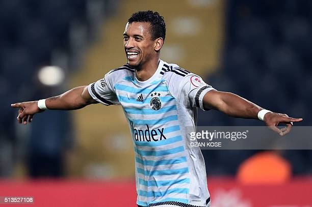 Fenerbahce's Portuguese forward Nani celebrates after scoring a goal during the Zirrat Tukish Cup football match between Fenerbahce and Amedspor at...