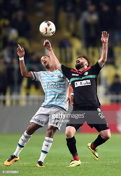 Fenerbahce's Portuguese forward Nani vies for the bal with Amedspor's midfielder Abdullah Cetin during the Zirrat Tukish Cup football match between...