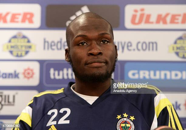 Fenerbahce's striker Moussa Sow holds a press conference ahead of training session in Istanbul Turkey on April 22 2015