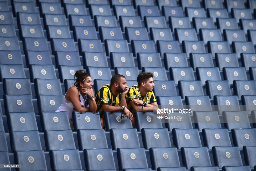 Fenerbahce's supporters arrive in the grandstands before ...