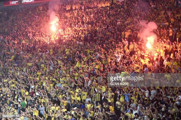 Fenerbahce's supporters celebrate after their team won the first place basketball match between Fenerbahce and Olympiacos at the Euroleague Final...