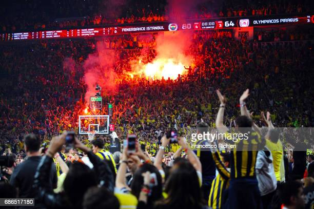 Fenerbahce's supporters celebrates during the 2017 Final Four Istanbul Turkish Airlines EuroLeague Champion Trophy Ceremony at Sinan Erdem Dome on...