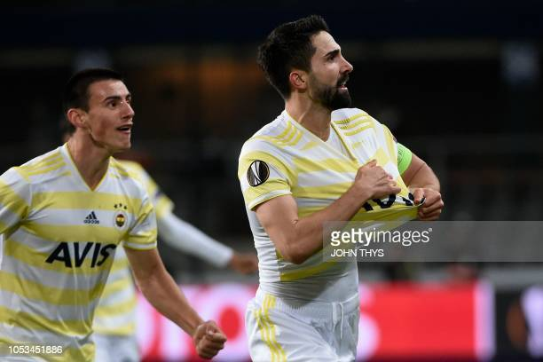 Fenerbahce's Turkish defender Hasan Ali Kaldirim celebrates after scoring a goal during the UEFA Europa League Group D firstleg football match...
