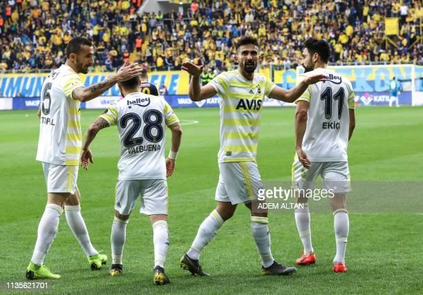 Fenerbahce's Turkish defender Hasan Ali Kaldirim celebrates after scoring a goal during the Turkish Super Lig football match between Ankaragucu and...