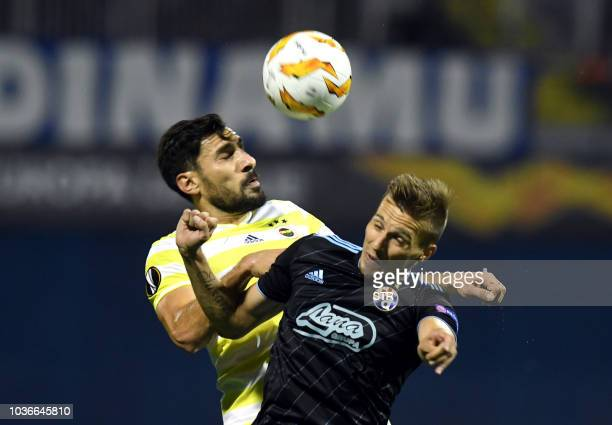 Fenerbahce's Swiss forward Michael Frey fights for the ball with Dinamo Zagreb's Croatian midfielder Ivan Sunjic during the Europa League Group D...
