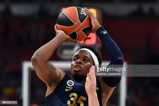 Fenerbahce's US guard Ali Muhammed shoots the ball during the Euroleague Final Four finals basketball match between Real Madrid and Fenerbahce Dogus...