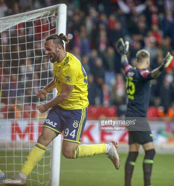Fenerbahce's Vedat Muriqi celebrates his goal during the Turkish Super Lig week 24 match between Fraport TAV Antalyaspor and Fenerbahce in Antalya...