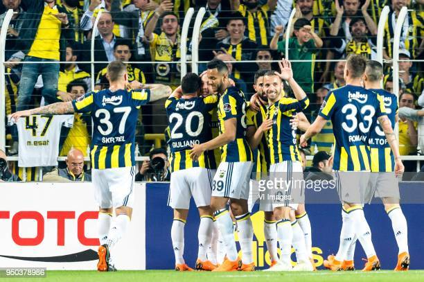 Fenerbahcve celebrate the goal of Aatif Chahechouhe of Fenerbahce SK during the Turkish Spor Toto Super Lig match Fenerbahce AS and Antalyaspor AS at...