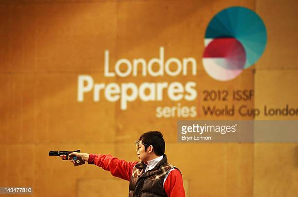 Feng Ding of China finished 2nd in the Men's 25m Rapid Fire Pistol competition on day nine of the ISSF Shooting World Cup LOCOG Test Event for London...