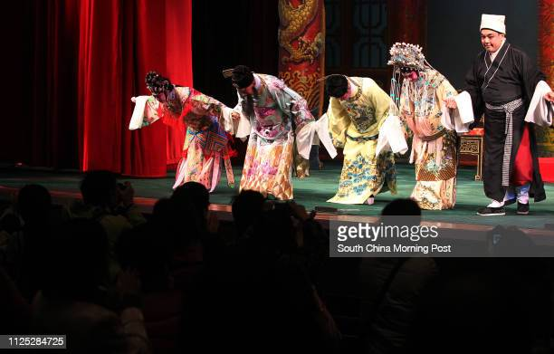 Feng Sheng Hui Theatre's actors and actresses bows at the curtain call after their last performance in Sunbeam Theatre Sunbeam Theatre where Feng...