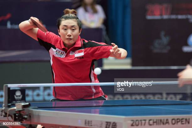 Feng Tianwei of China competes during the women's singles quarter-final match against Sun Yingsha of China on the day three of the 2017 ITTF World...