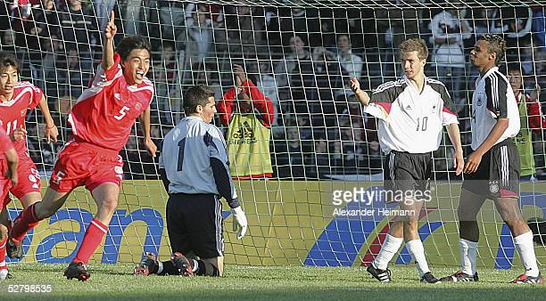 Feng Xiaoting of China celebrates during the match between Germany and China in the men's under 20's International on May 11 2005 in Schweinfurt...