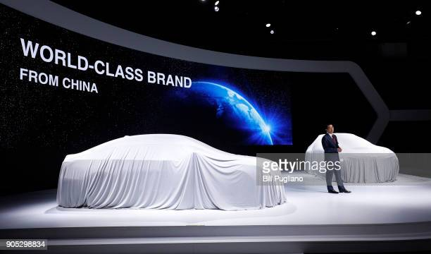Feng Xingya Chairman of GAC Motor speaks at the GAC vehicle debuts at the 2018 North American International Auto Show January 15 2018 in Detroit...