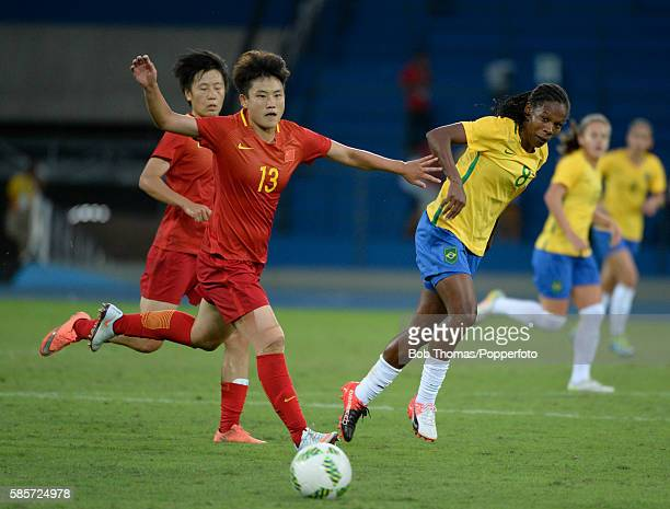 Fengyue Pang in action for China during the Women's Group E first round match between Brazil and China PR during the Rio 2016 Olympic Games at the...