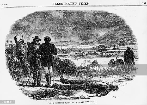 Fenians gather on Tallaght Hill near Dublin during the national Fenian Rising March 1867 Original Publication Illustrated Times pub 20th March 1867
