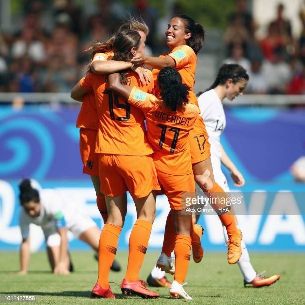 Fenna Kalma of Netherlands celebrates her team's first goal during the FIFA U20 Women's World Cup France 2018 group A match between New Zealand and...