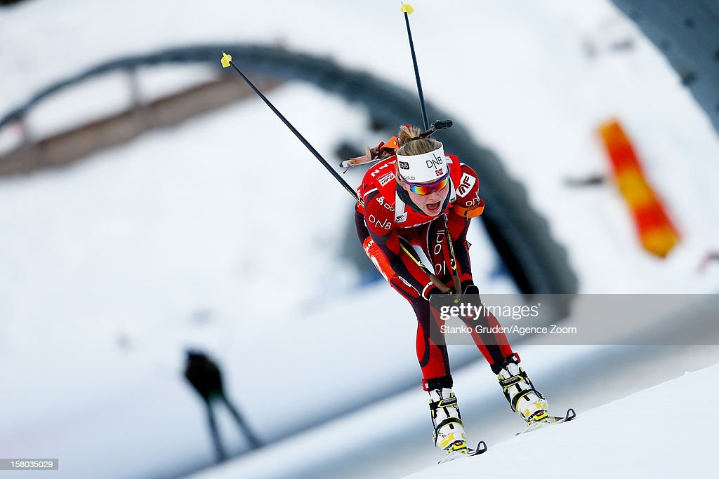 Fenne Hilde of Norway takes 1st place during the IBU Biathlon World Cup Women's Relay on December 09, 2012 in Hochfilzen, Austria.