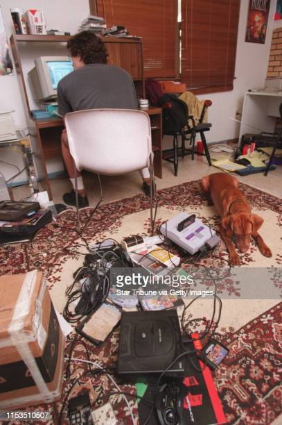 Fenris Wolf Electronic Games mascot Mithra lay next to every home game system known to man The different video games were just piled atop each other...