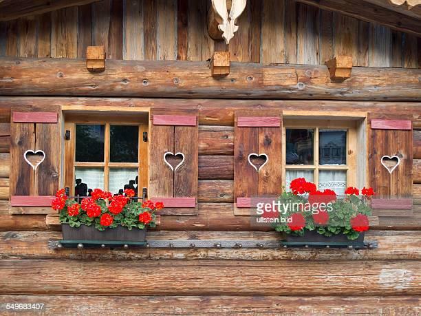 Fenster mit Blumenkasten an einem Bauernhaus in Lanersbach im Tuxer Tal in de Tuxer Alpen in Tirol in Österreich