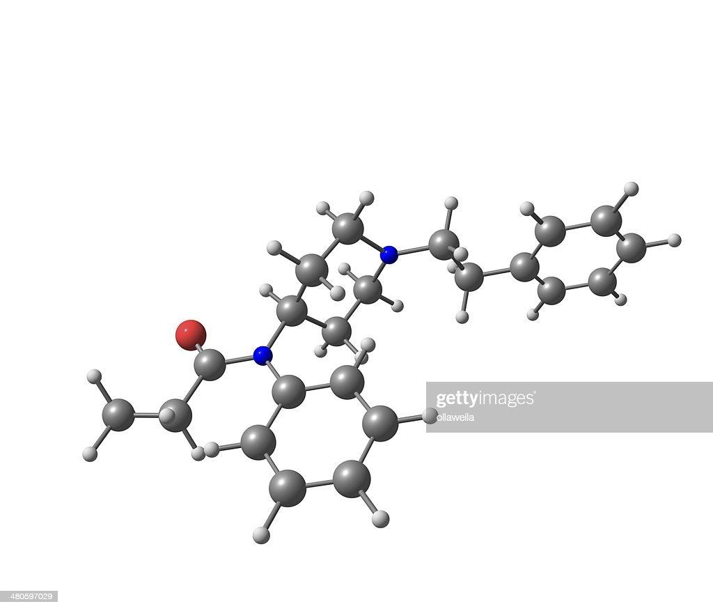 Fentanyl molecular structure on white background : Stock Photo