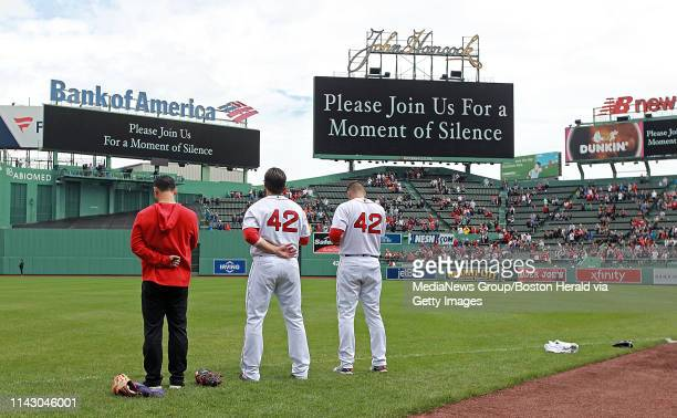 Fenway Park holds a moment of silence before the MLB game against the Baltimore Orioles at Fenway Park on April 15 2019 in Boston Massachusetts