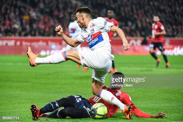 Ferando Marcal of Lyon and Edgar Ie of Lille during the Ligue 1 match between Lille OSC and Olympique Lyonnais at Stade Pierre Mauroy on February 18...