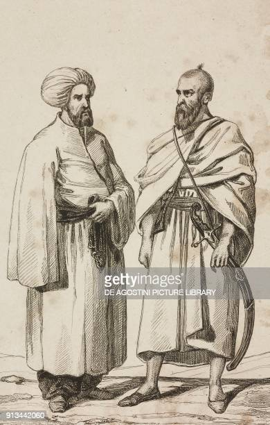 1 Ferasch or guardian of Prophet Muhammad's burial chamber 2 Muslim with the mantle worn on the pilgrim days Saudi Arabia engraving by Lemaitre and...