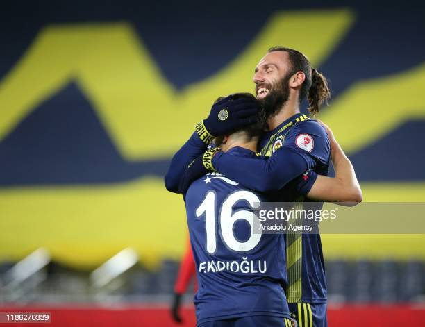 Ferdi Kadioglu of Fenerbahce celebrates with his teammate Vedat Muriqi after scoring a goal during Ziraat Turkish Cup 5th round soccer match between...