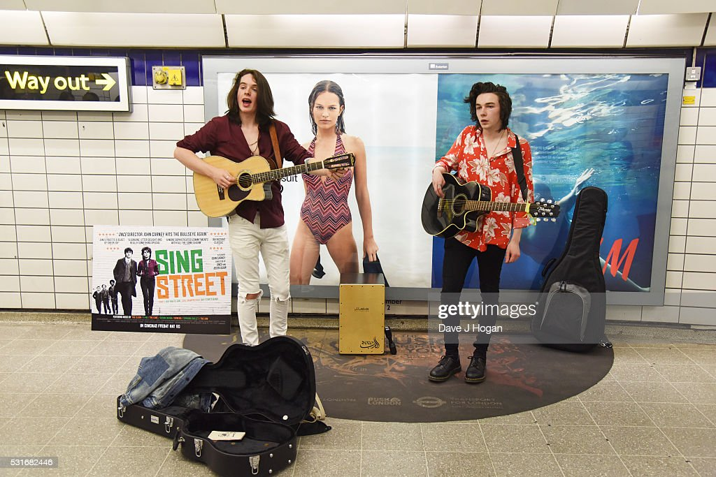 Sing Street Busking at Leicester Square Station : News Photo