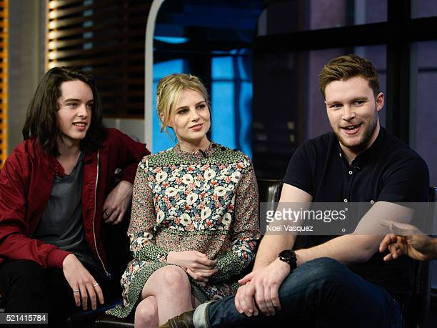 Ferdia WalshPeelo Lucy Boynton and Jack Reynor visit 'Extra' at Universal Studios Hollywood on April 15 2016 in Universal City California