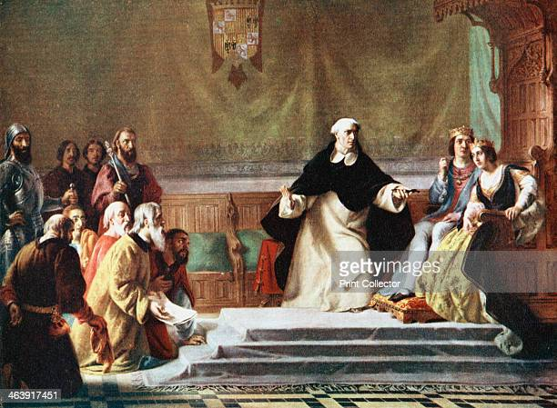 Ferdinand and Isabella King and Queen of Spain being petitioned for mercy A prelate holds a cross in front of them in warning