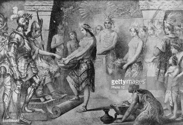 Ferdinand Cortes and Hernando de Soto in the camp of the Inca at Caxamalca The order of his court and the reverence with which his subjects...