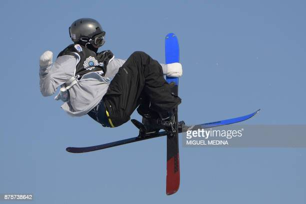 Ferdinand Dahl from Norway competes during the Men's qualification round at the FIS Freestyle World Cup Big Air in Milan on November 18 2017 / AFP...