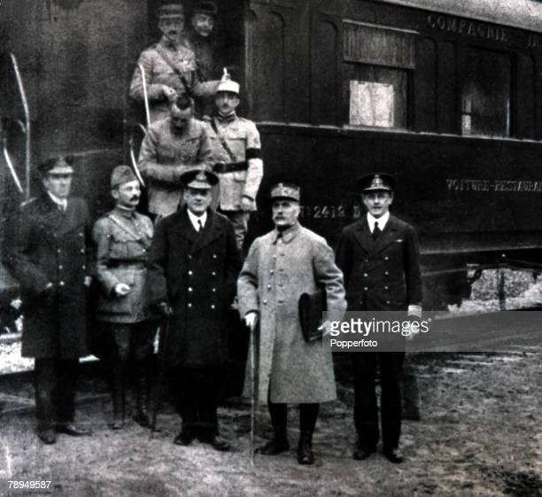 Ferdinand FochFrench Marshal with Allied commanders beside the train at Compeigne for the Armistice 1918