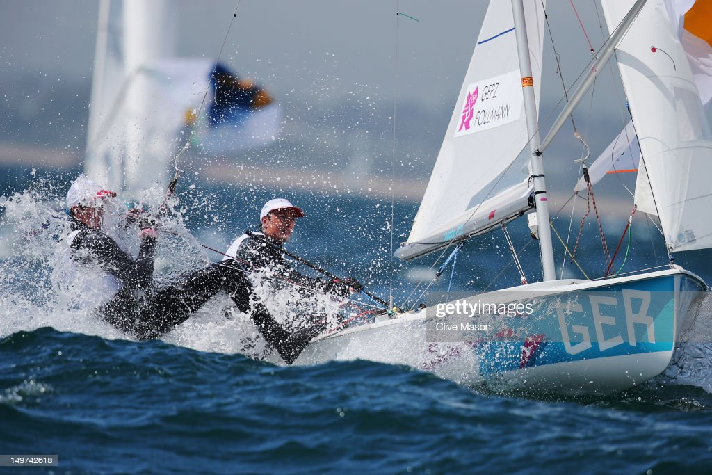 Ferdinand Gerz and Patrick Follmann of Germany compete in the Men's 470 Sailing on Day 6 of the London 2012 Olympic Games at the Weymouth & Portland Venue at Weymouth Harbour on August 2, 2012 in Weymouth, England.