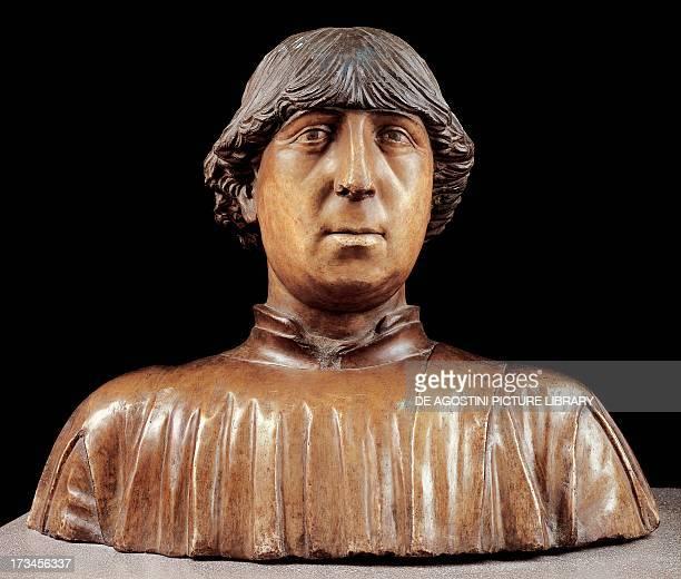 Ferdinand I of Aragon painted marble bust Italy 15th century Paris Musée Du Louvre
