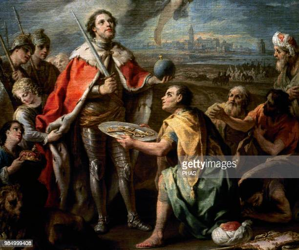 Ferdinand III of Castile the Saint Reconquest Surrender of Seville to king Fernando III 13th century By CharlesJoseph Flipart Prado Museum Madrid...