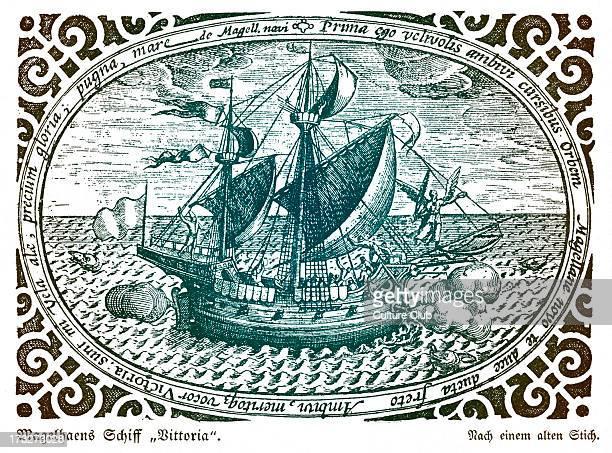 Ferdinand Magellan's ship the Victoria FM Portuguese explorer 1480 27 April 1521 Tinted version