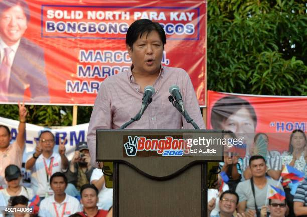 Ferdinand Marcos Jrson of late Philipine dictator Ferdinand Marcos announces his vicepresidential bid at a political rally in Manila on October 10...