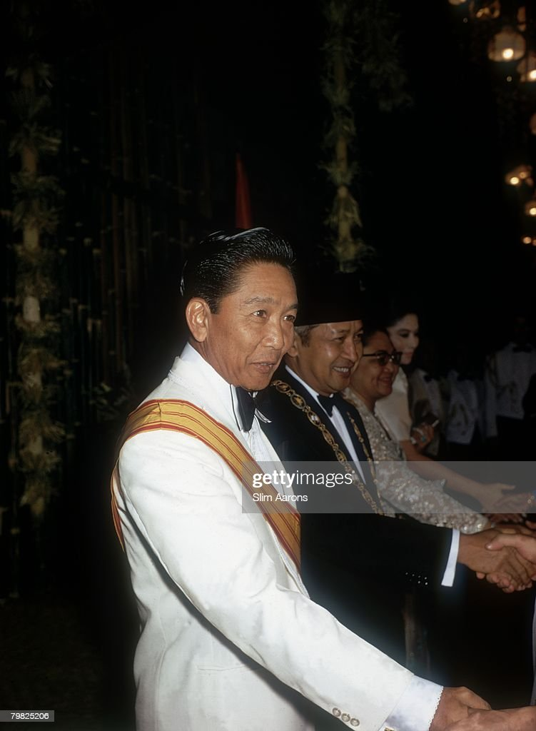 Ferdinand Marcos (1917 - 1989), President of the Philippines and President  Suharto of