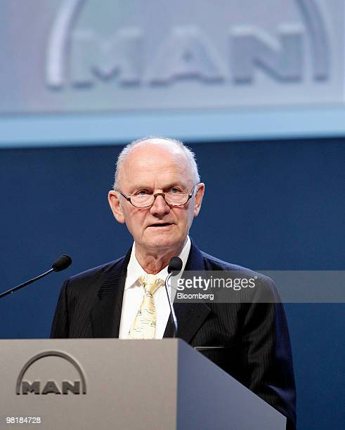 Ferdinand Piech, chairman of the supervisory board of MAN SE, speaks at company's annual shareholders' meeting in Munich, Germany, on Thursday, April...