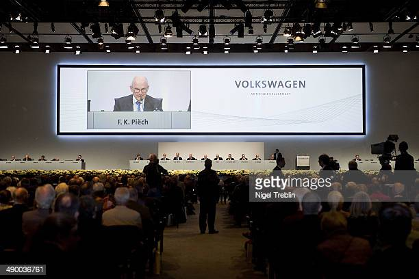 Ferdinand Piech Chairman of the Supervisory Board of Volkwagen Group speaks ahead of Volkswagen annual shareholder meeting on May 13 2014 in Hanover...