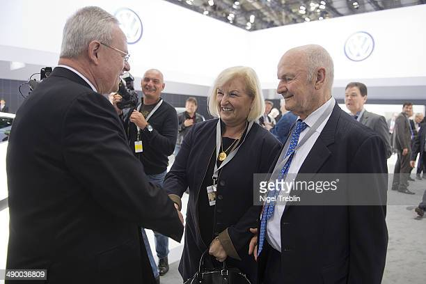 Ferdinand Piech Chairman of the Supervisory Board of Volkwagen Group and his wife Ursula speak to Martin Winterkorn Chairman of German carmaker...