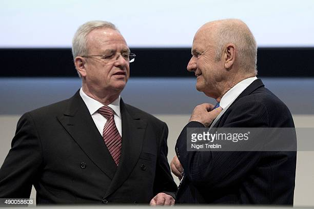 Ferdinand Piech Chairman of the Supervisory Board of Volkwagen Group speak to Martin Winterkorn Chairman of German carmaker Volkswagen AG ahead of...