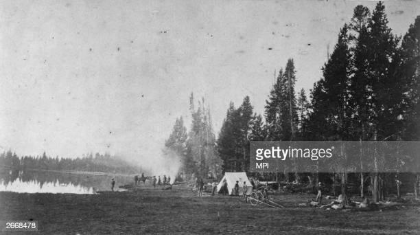 Ferdinand Vandeveer Hayden's survey camp near Pelican Creek fifteen miles east of Yellowstone Lake Wyoming Photograph by William Henry Jackson