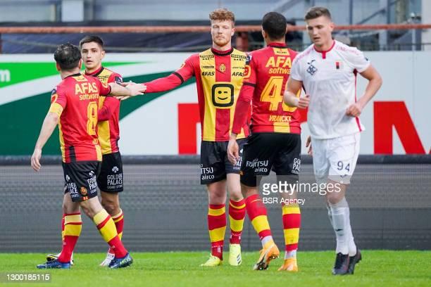 Ferdy Druijf of KV Mechelen celebrating his goal during the Croky Cup match between KV Mechelen and RWDM at Afas Stadium Achter de Kazerne on...