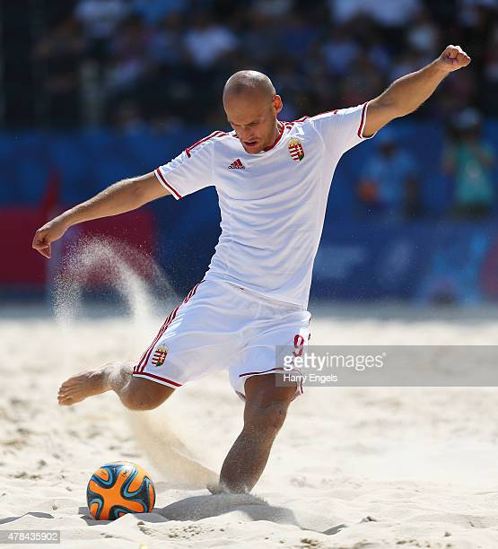 Ferenc Besenyei of Hungary shoots during the Men's Beach Soccer Group B match between Spain and Hungary on day thirteen of the Baku 2015 European...